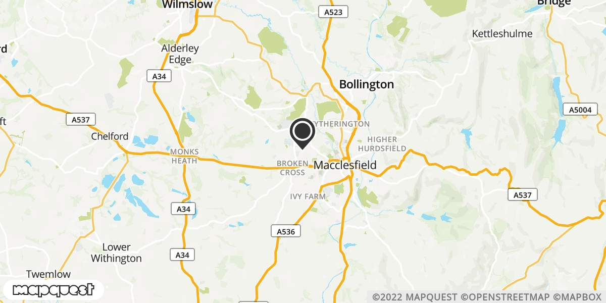 local map of watch repair drop off points in Macclesfield, Cheshire | Repairs by Post