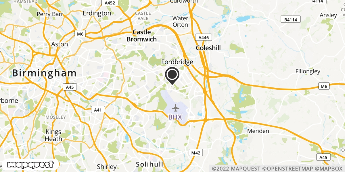 local map of watch repair drop off points in Marston Green, West Midlands | Repairs by Post