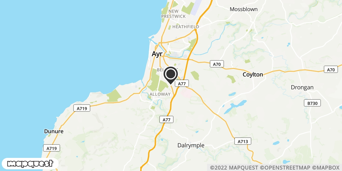 local map of watch repair drop off points in Maybole, Ayrshire   Repairs by Post