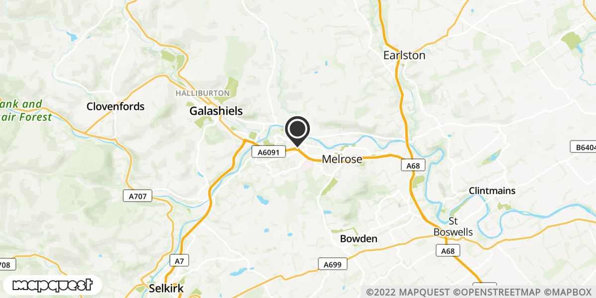 local map of watch repair drop off points in Melrose, Roxburghshire | Repairs by Post