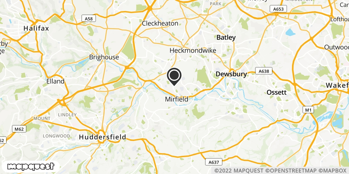 local map of watch repair drop off points in Mirfield, West Yorkshire | Repairs by Post