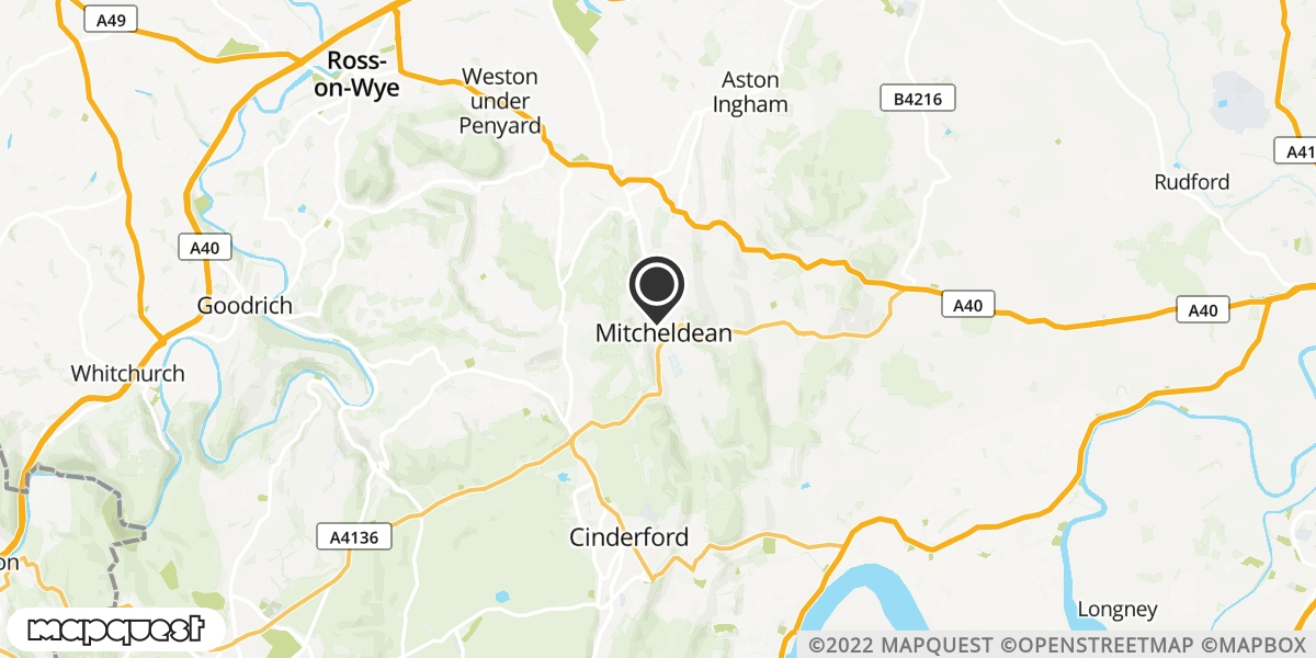 local map of watch repair drop off points in Mitcheldean, Gloucestershire   Repairs by Post