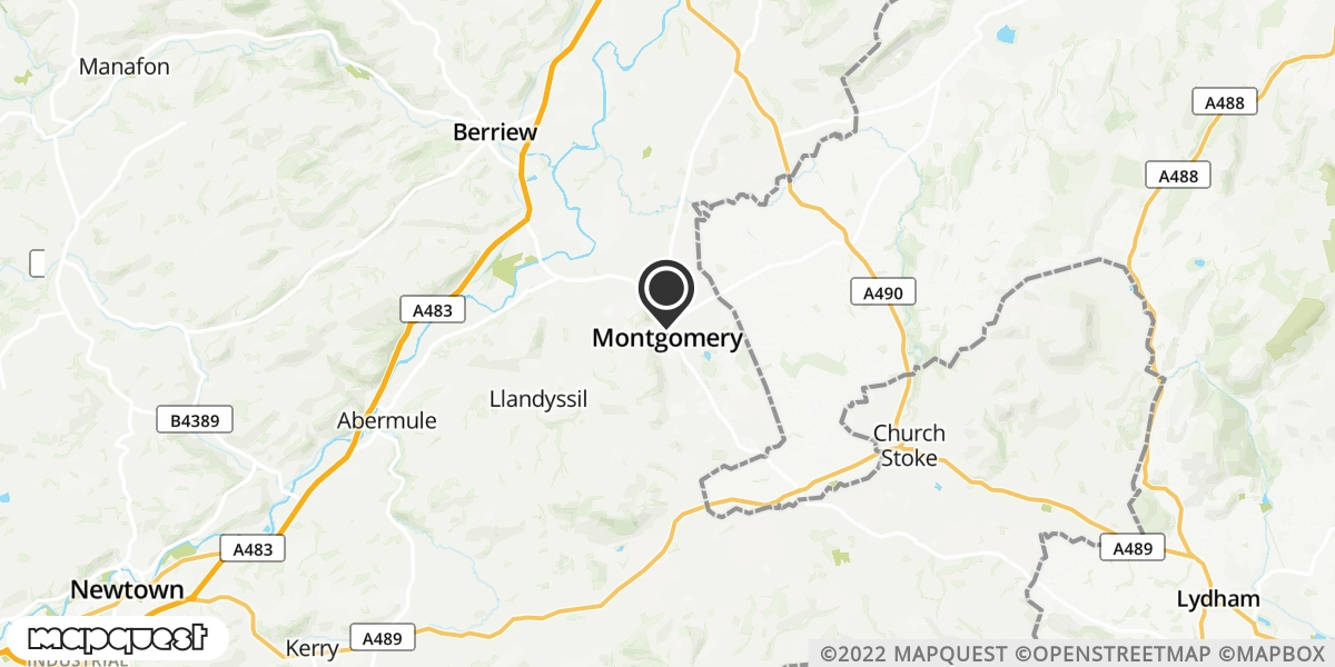 local map of watch repair drop off points in Montgomery, Powys | Repairs by Post
