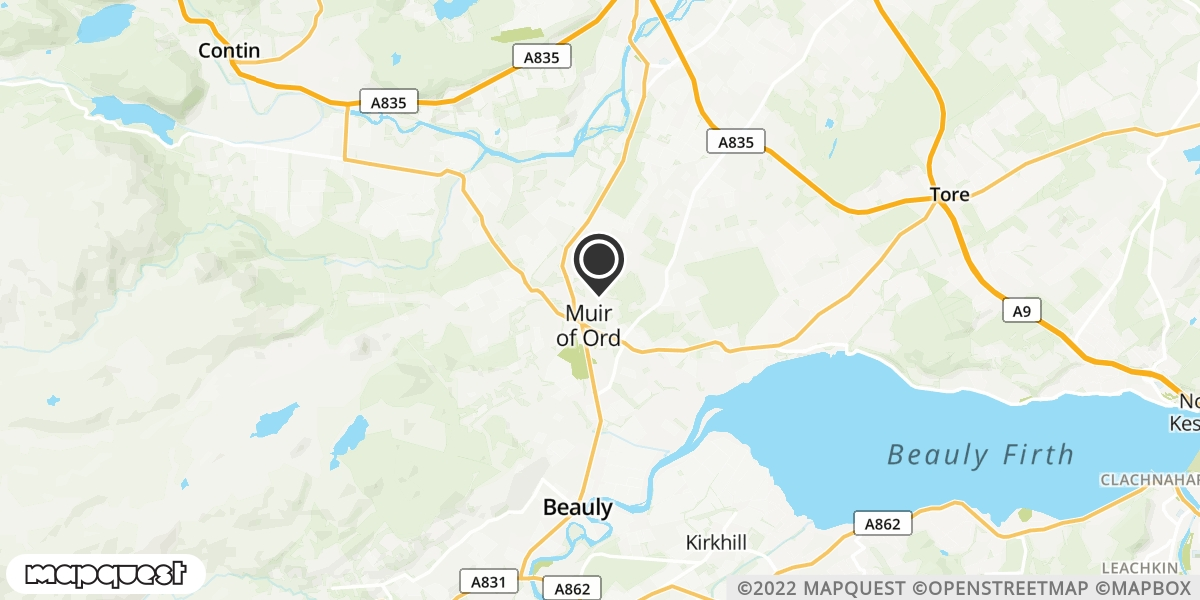 local map of watch repair drop off points in Muir of Ord, Ross-Shire | Repairs by Post