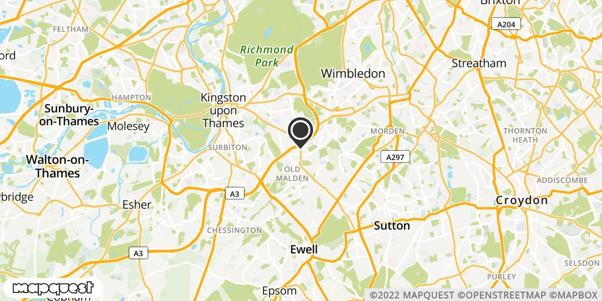 local map of watch repair drop off points in New Malden, Surrey   Repairs by Post
