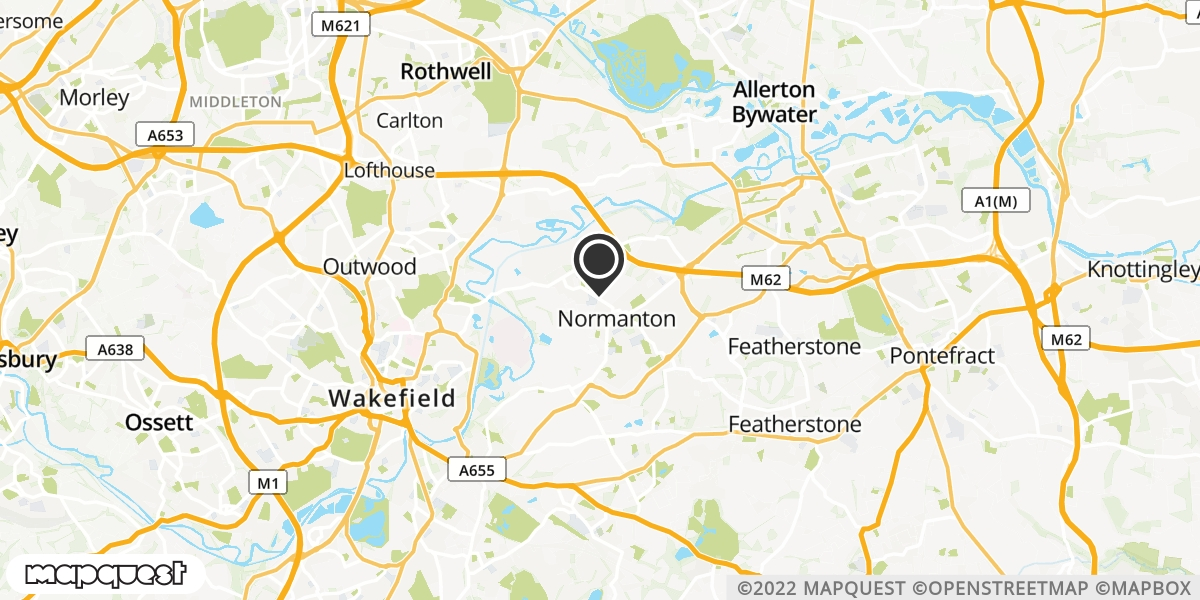 local map of watch repair drop off points in Normanton, West Yorkshire   Repairs by Post