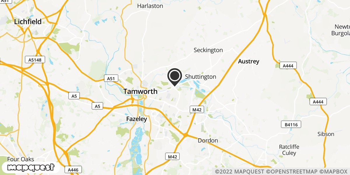 local map of watch repair drop off points in North Tamworth, Staffordshire | Repairs by Post