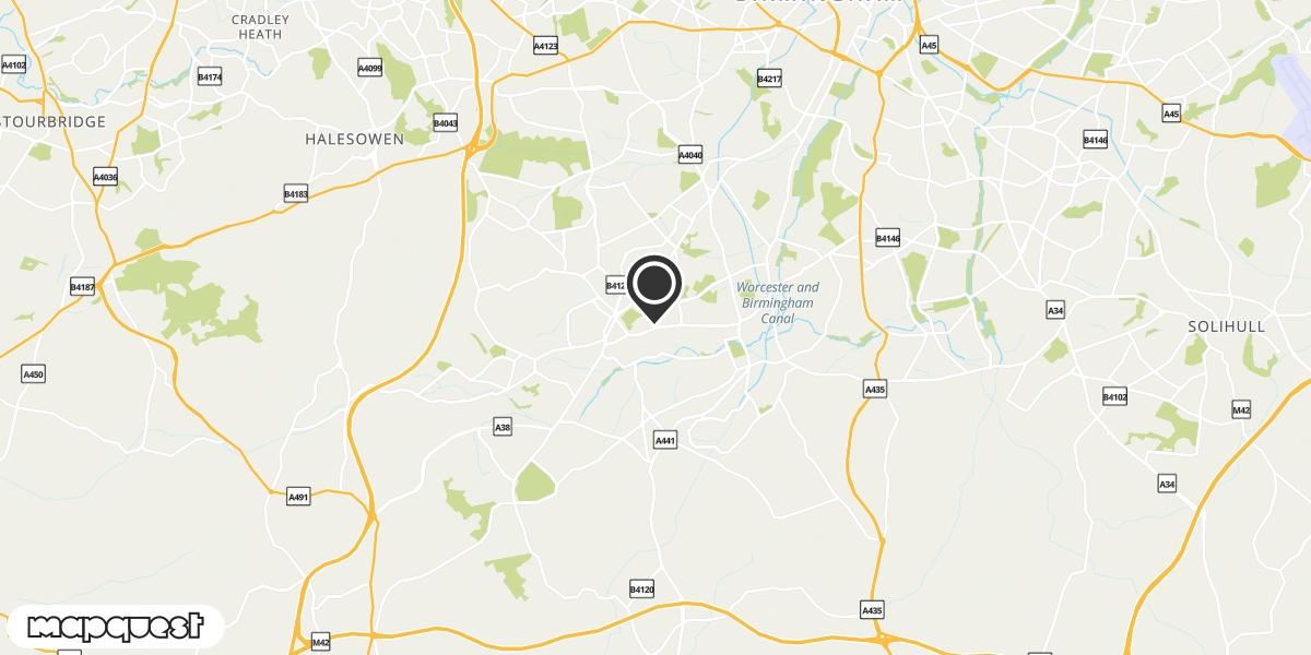 local map of watch repair drop off points in Northfield, Birmingham | Repairs by Post