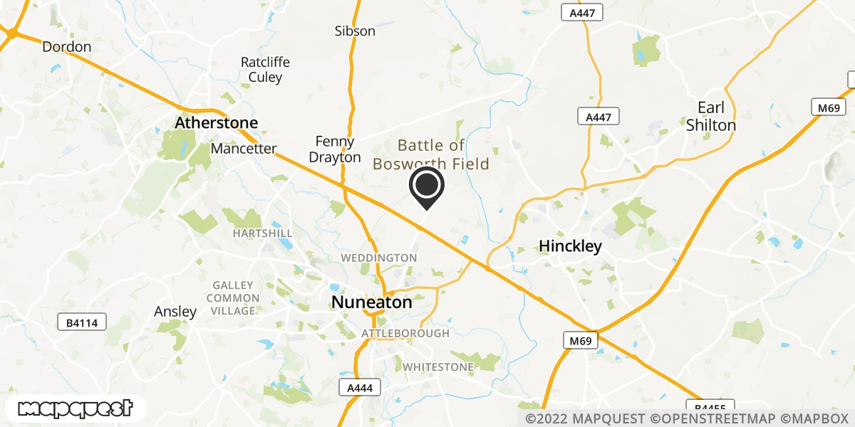 local map of watch repair drop off points in Nuneaton, Warwickshire | Repairs by Post