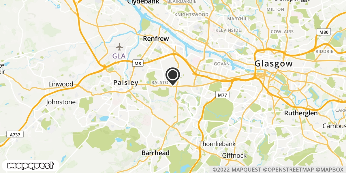 local map of watch repair drop off points in Paisley, Renfrewshire | Repairs by Post