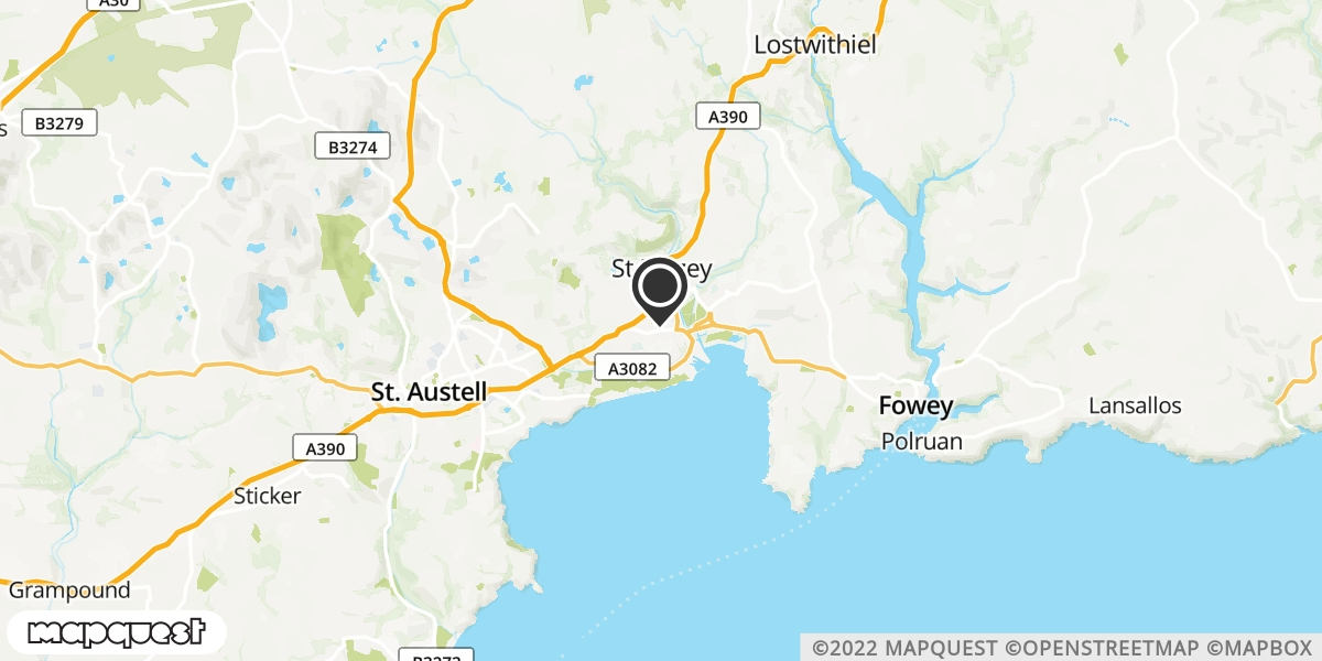 local map of watch repair drop off points in Par, Cornwall | Repairs by Post