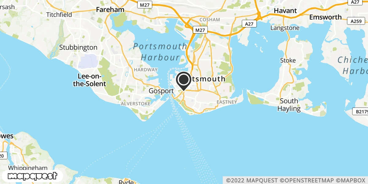 local map of watch repair drop off points in Portsmouth, Hampshire | Repairs by Post