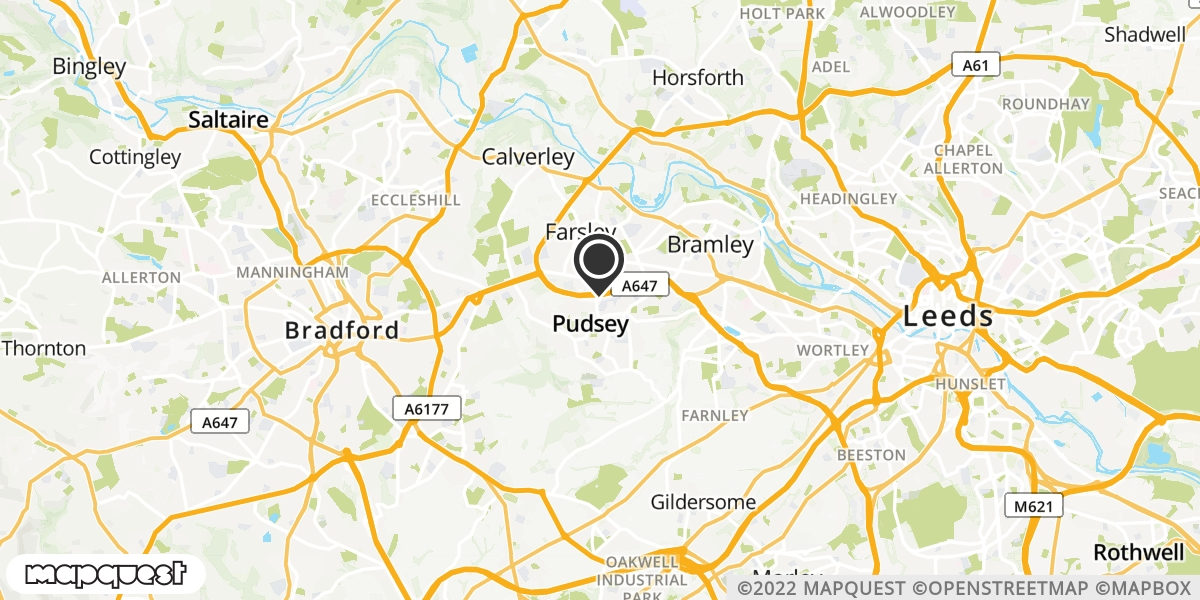 local map of watch repair drop off points in Pudsey, West Yorkshire | Repairs by Post