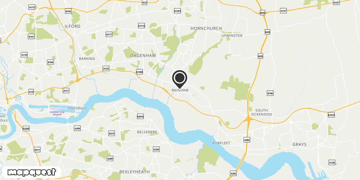 local map of watch repair drop off points in Rainham, Essex | Repairs by Post