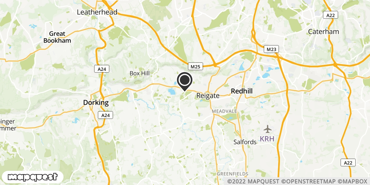 local map of watch repair drop off points in Reigate, Surrey | Repairs by Post