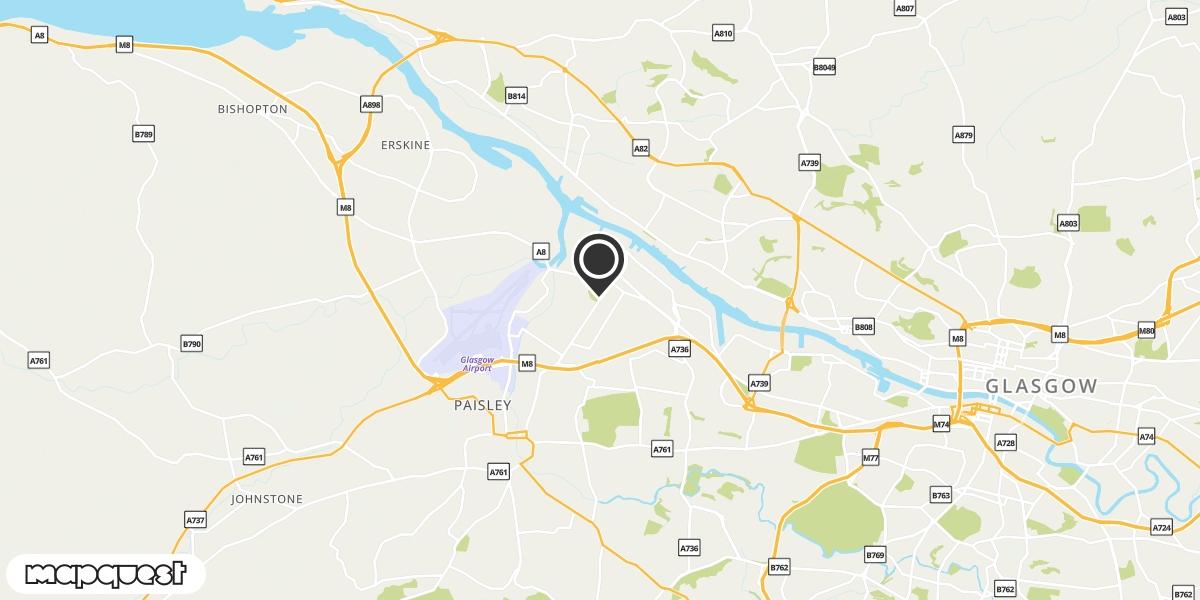 local map of watch repair drop off points in Renfrew, Renfrewshire | Repairs by Post