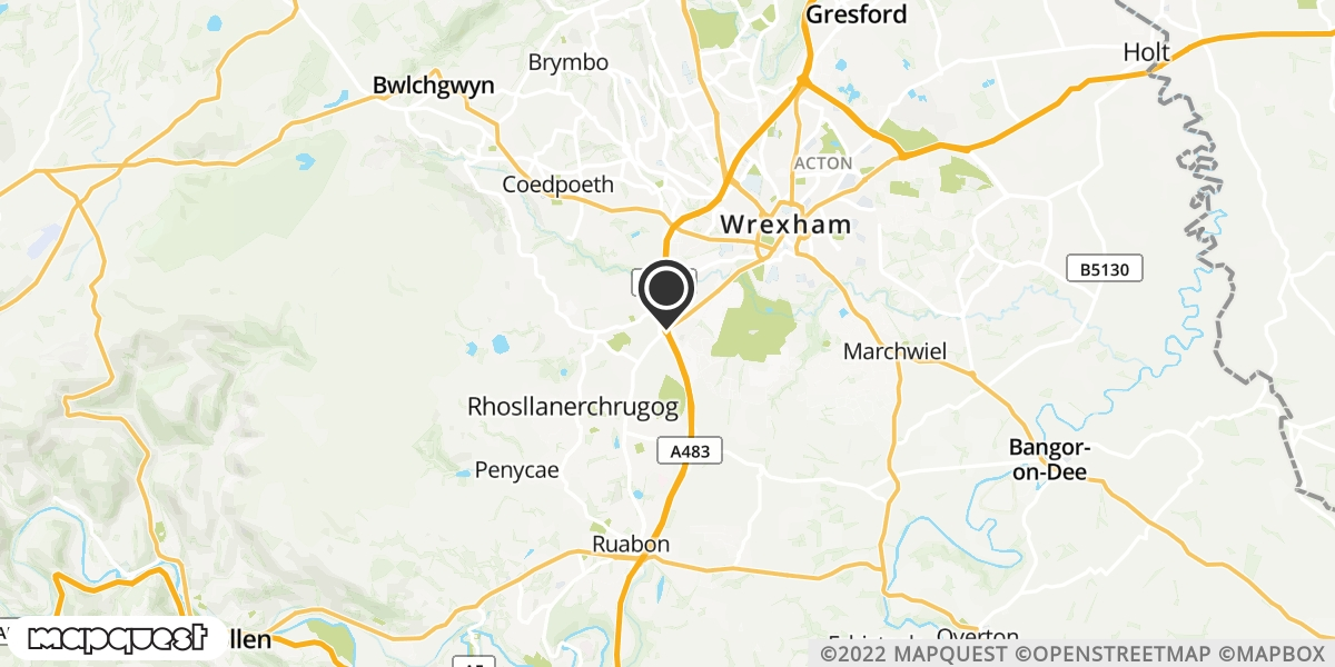 local map of watch repair drop off points in Rhosllanerchrugog, Wrexham | Repairs by Post