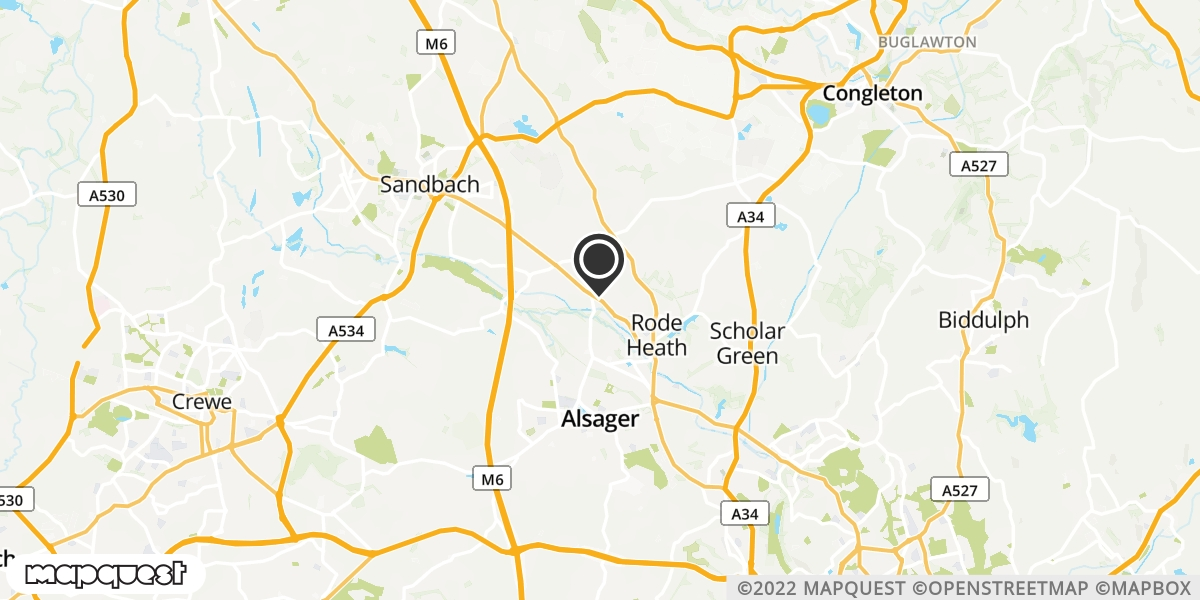 local map of watch repair drop off points in Sandbach, Cheshire | Repairs by Post