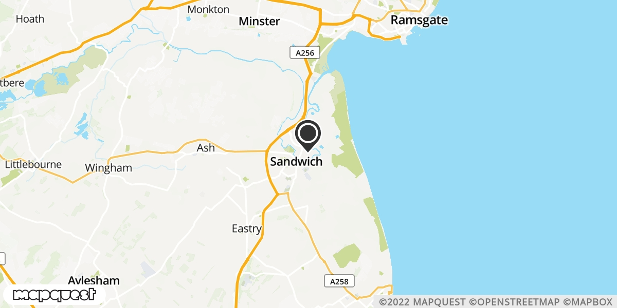 local map of watch repair drop off points in Sandwich, Kent | Repairs by Post