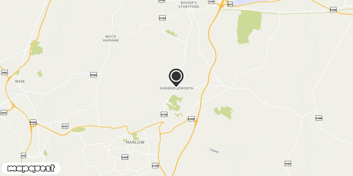 local map of watch repair drop off points in Sawbridgeworth, Hertfordshire | Repairs by Post