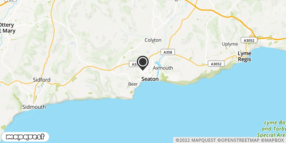 local map of watch repair drop off points in Seaton, Devon | Repairs by Post