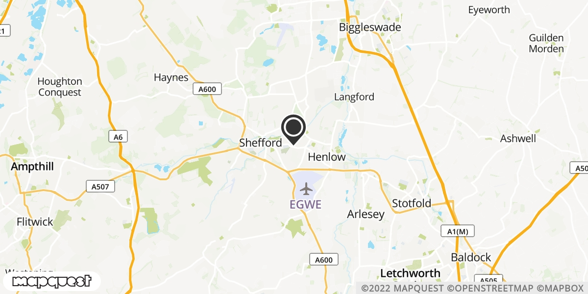 local map of watch repair drop off points in Shefford, Bedfordshire | Repairs by Post