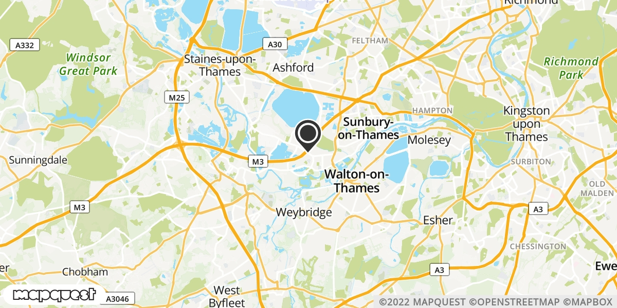 local map of watch repair drop off points in Shepperton, Middlesex | Repairs by Post