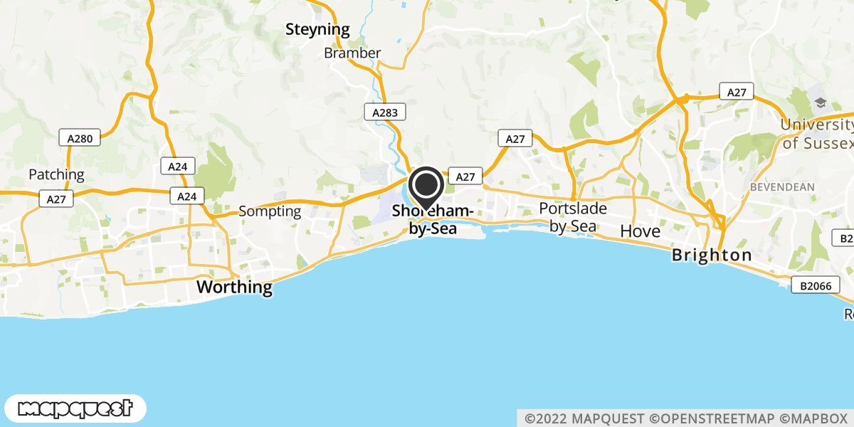 local map of watch repair drop off points in Shoreham-by-Sea, West Sussex | Repairs by Post