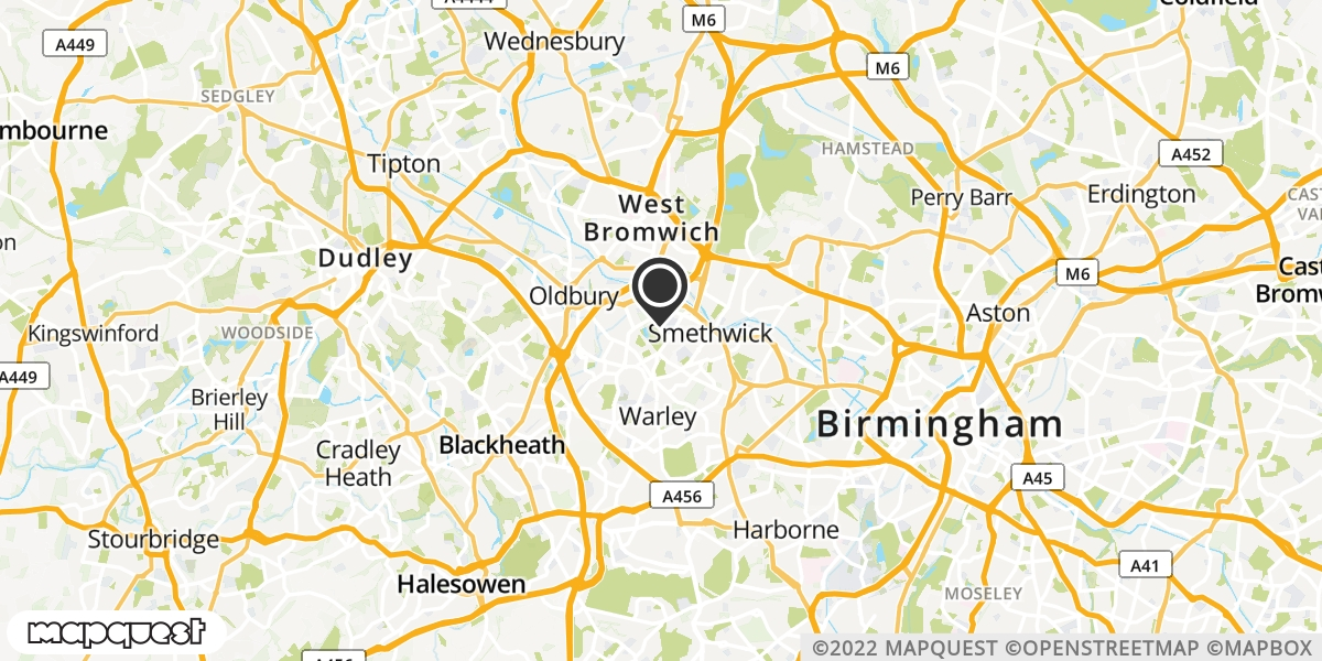 local map of watch repair drop off points in Smethwick, West Midlands | Repairs by Post