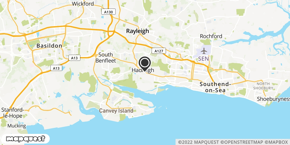local map of watch repair drop off points in South Benfleet, Essex | Repairs by Post