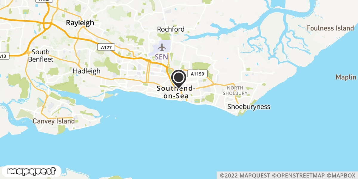 local map of watch repair drop off points in Southend-on-Sea, Essex | Repairs by Post