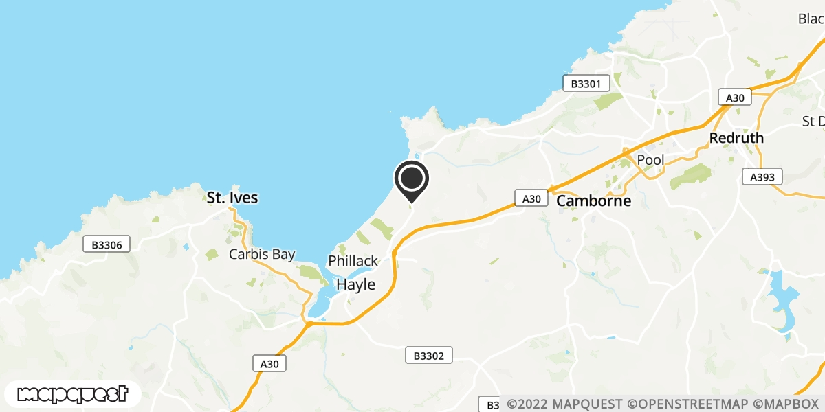 local map of watch repair drop off points in St Ives, Cornwall   Repairs by Post