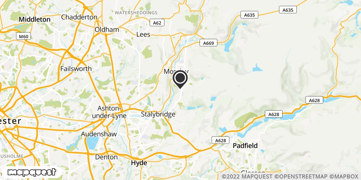 local map of watch repair drop off points in Stalybridge, Cheshire | Repairs by Post