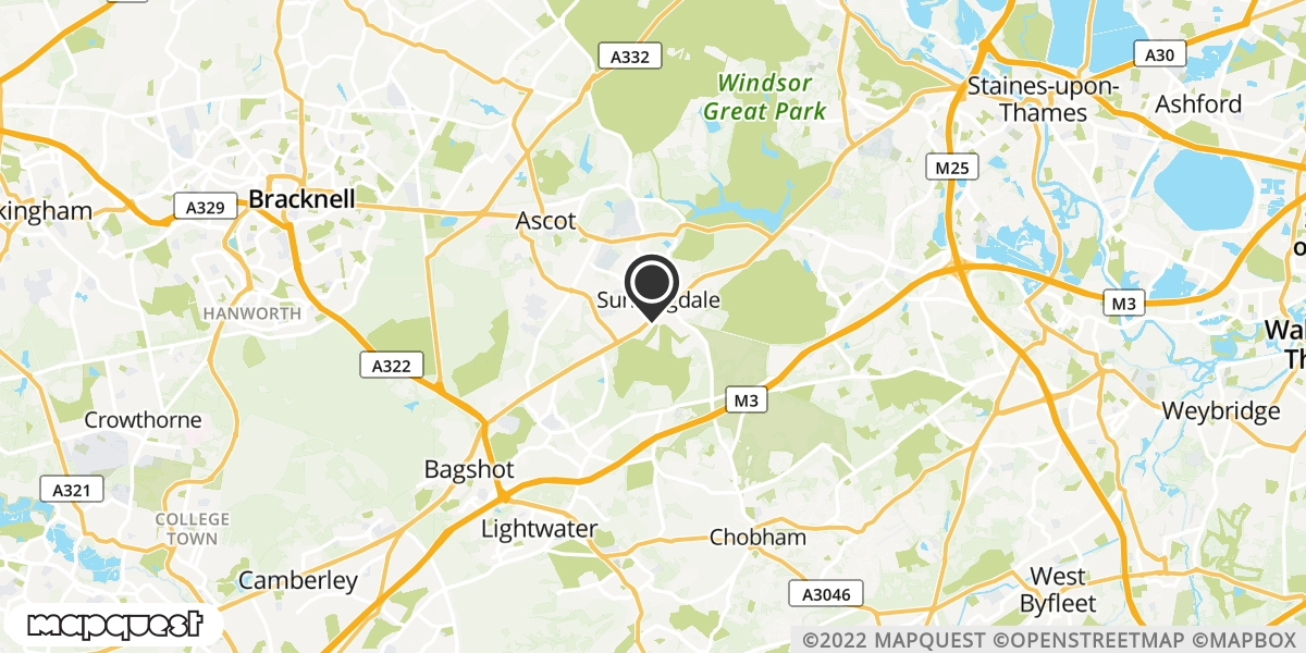 local map of watch repair drop off points in Sunningdale, Berkshire | Repairs by Post