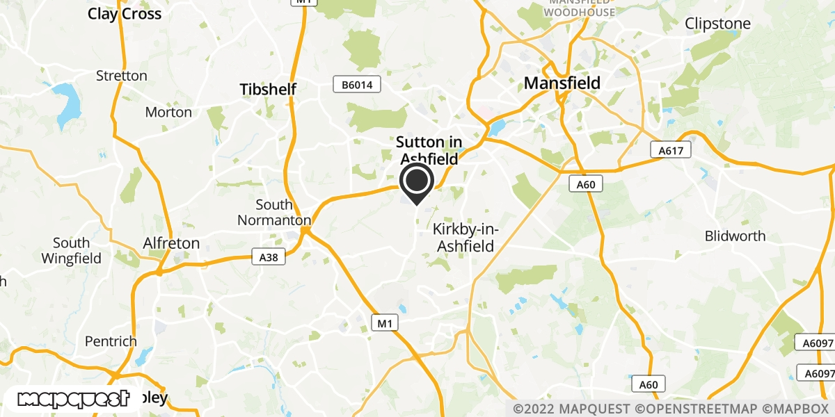 local map of watch repair drop off points in Sutton in Ashfield, Nottinghamshire | Repairs by Post