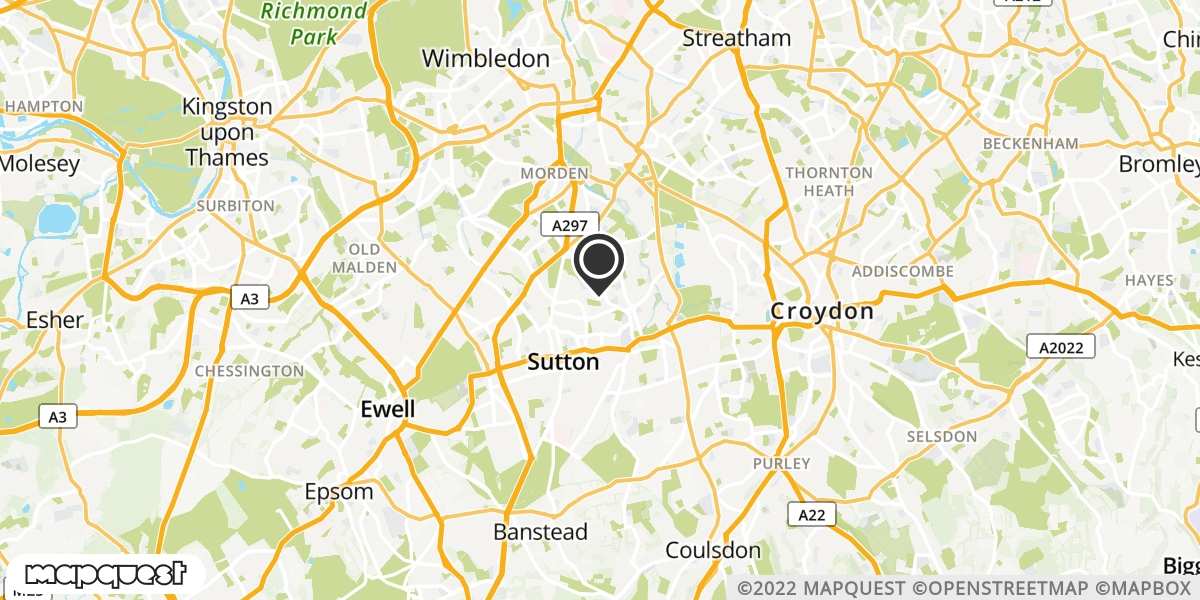 local map of watch repair drop off points in Sutton, Surrey | Repairs by Post
