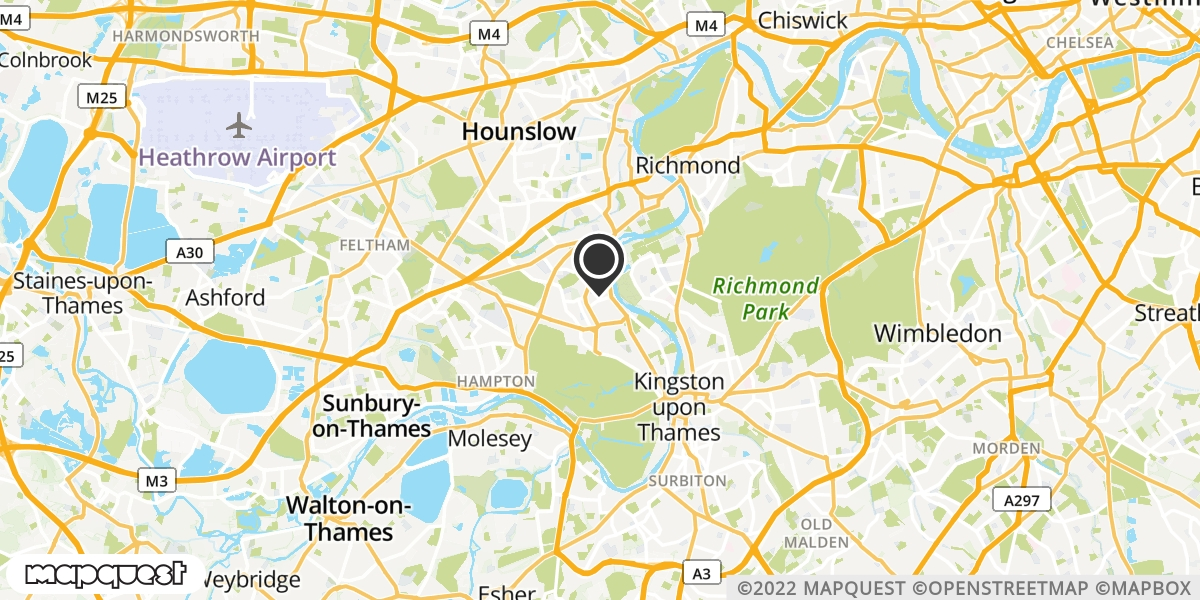 local map of watch repair drop off points in Teddington, Middlesex | Repairs by Post
