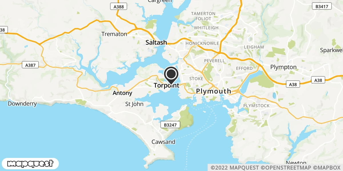 local map of watch repair drop off points in Torpoint, Cornwall   Repairs by Post