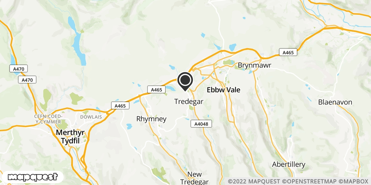 local map of watch repair drop off points in Tredegar, Gwent | Repairs by Post