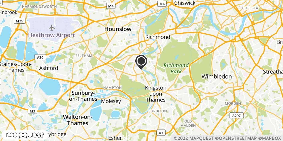 local map of watch repair drop off points in Twickenham, Middlesex | Repairs by Post