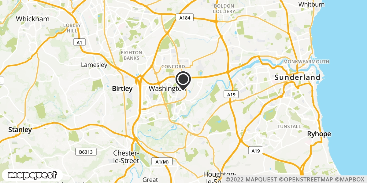 local map of watch repair drop off points in Washington, Tyne and Wear | Repairs by Post