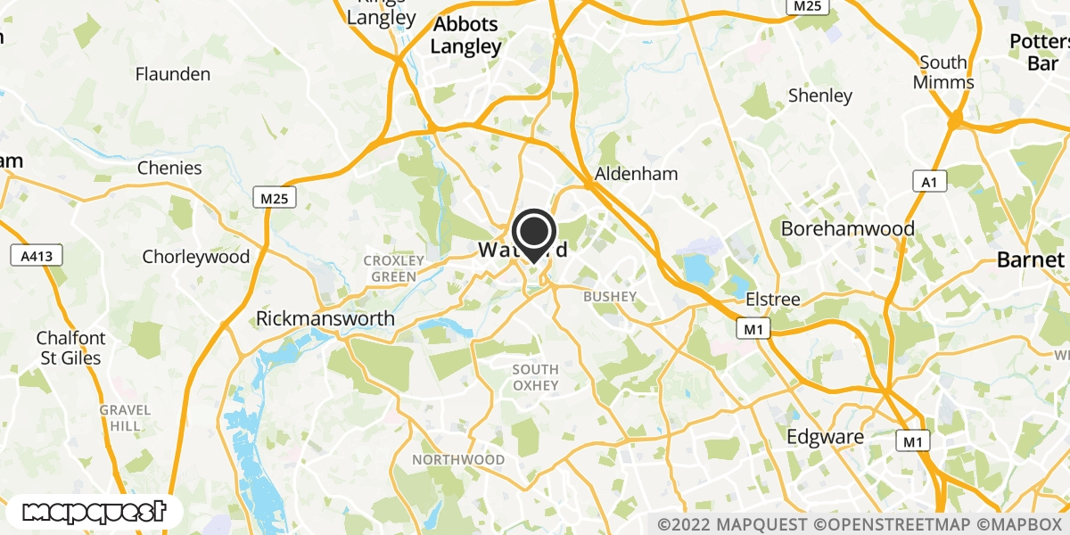 local map of watch repair drop off points in Watford, Hertfordshire | Repairs by Post