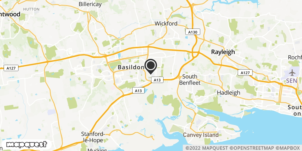 local map of watch repair drop off points in Wickford, Essex | Repairs by Post