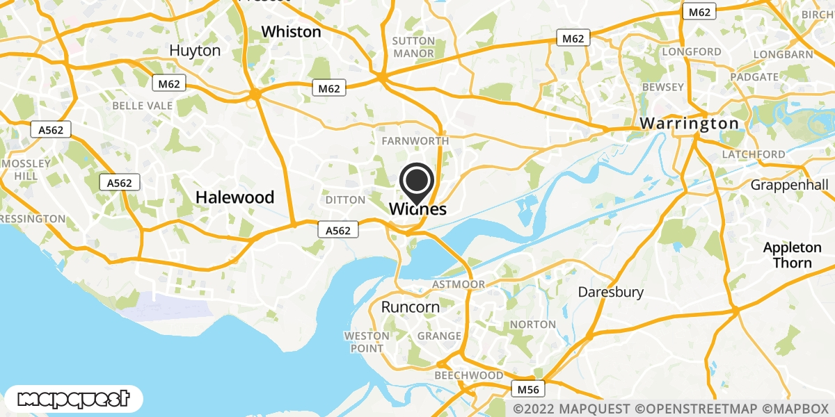 local map of watch repair drop off points in Widnes, Cheshire | Repairs by Post