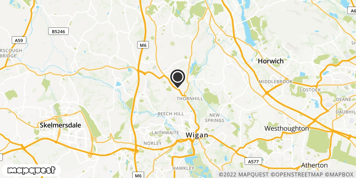 local map of watch repair drop off points in Wigan, Lancashire | Repairs by Post