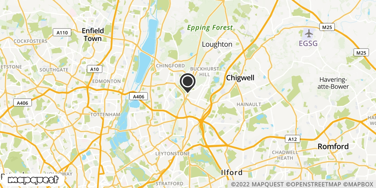 local map of watch repair drop off points in Woodford Green, Essex | Repairs by Post