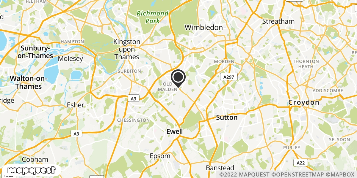 local map of watch repair drop off points in Worcester Park, Surrey | Repairs by Post