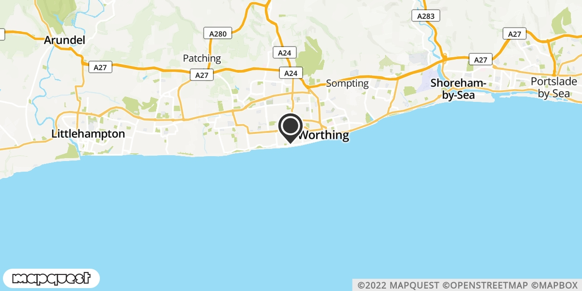 local map of watch repair drop off points in Worthing, West Sussex | Repairs by Post