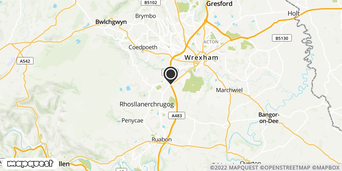 local map of watch repair drop off points in Wrexham, Wrexham | Repairs by Post