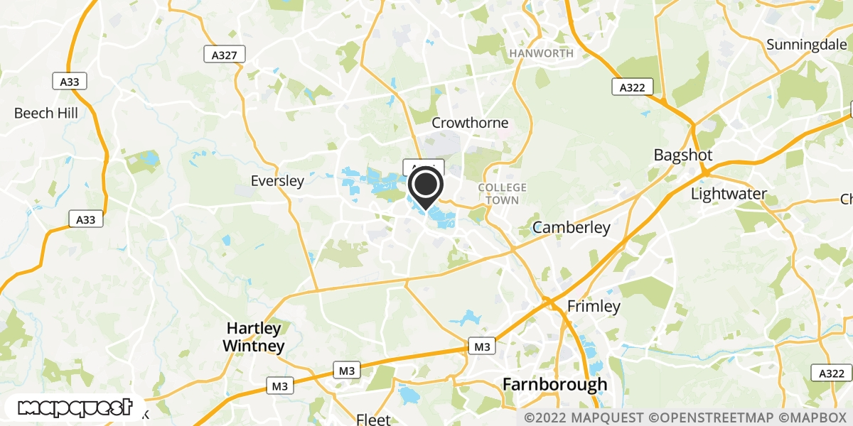local map of watch repair drop off points in Yateley, Hampshire | Repairs by Post